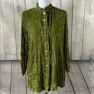 CHICO'S . Crushed Velvet Button Front Blouse . 1
